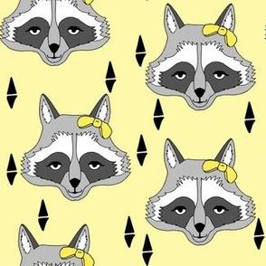 raccoon // sweet pastel yellow girls raccoon with bow spring animal print for baby girl sweet little girls