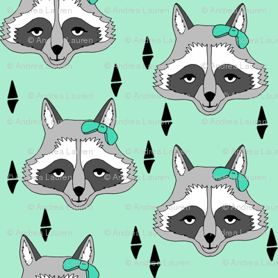raccoon // sweet mint little girls raccoon with boy cute animals for young girls clothing kids room decor fabric by andrea lauren