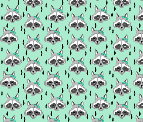 raccoon // sweet mint little girls raccoon with boy cute animals for young girls clothing kids room decor fabric by andrea lauren fabric by andrea_lauren on Spoonflower - custom fabric