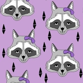 raccoon // purple pastel bow sweet little girls purple bow raccoon animal spring