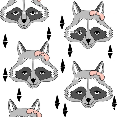 raccoon // sweet little girls raccoon print with pink bow adorable little cute animal print for baby girl