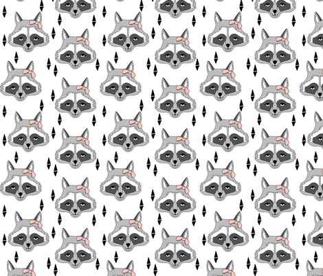 raccoon // sweet little girls raccoon print with pink bow adorable little cute animal print for baby girl  fabric by andrea_lauren on Spoonflower - custom fabric
