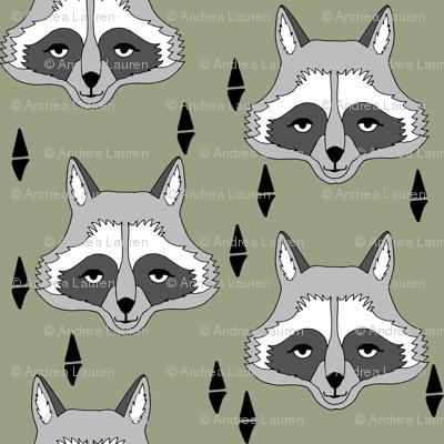 raccoon // artichoke green boys outdoor animal baby boy raccoon camping scouts woodland print camp ivanhoe