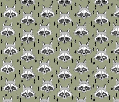 raccoon // artichoke green boys outdoor animal baby boy raccoon camping scouts woodland print camp ivanhoe fabric by andrea_lauren on Spoonflower - custom fabric