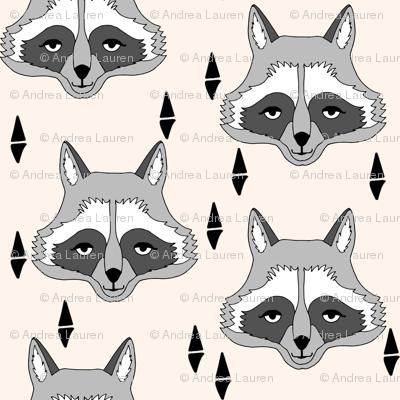raccoon // off-white cream raccoon animal print sweet gender neutral animal print