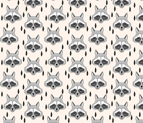 raccoon // off-white cream raccoon animal print sweet gender neutral animal print fabric by andrea_lauren on Spoonflower - custom fabric