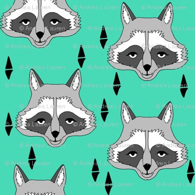 raccoon // bright green raccoon face sweet little kids animal print