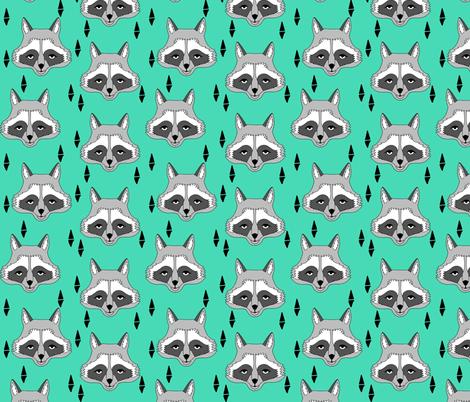 raccoon // bright green raccoon face sweet little kids animal print fabric by andrea_lauren on Spoonflower - custom fabric