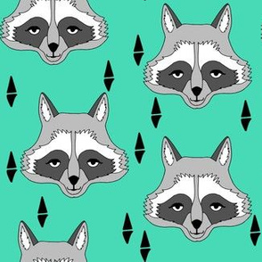 raccoon // bright green raccoon face sweet little kids animal print