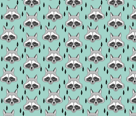 raccoon // mint sweet little kids gender neutral raccoon animal print for outdoors camping woodland fabric by andrea_lauren on Spoonflower - custom fabric