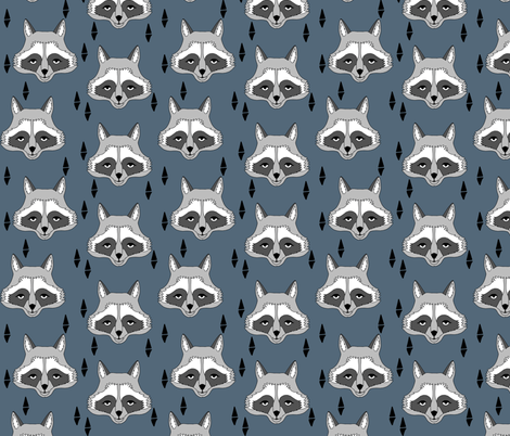 raccoon // blue kids baby boy animal outdoors scouts camp ivanhoe animals fabric by andrea_lauren on Spoonflower - custom fabric