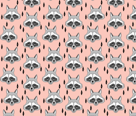 raccoon // pastel pink girls print for sweet little girls clothes girls room baby girl crib bedding  fabric by andrea_lauren on Spoonflower - custom fabric