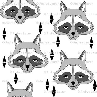 raccoon // sweet little geometric raccoon face hand-drawn illustration fabric by andrea lauren
