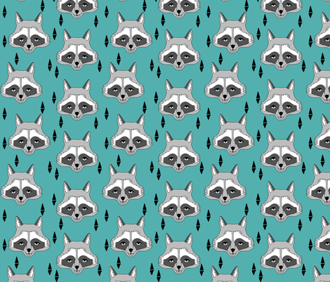 raccoon // turquoise raccoon sweet animal face for kids room outdoors woodland fabric by andrea lauren fabric by andrea_lauren on Spoonflower - custom fabric