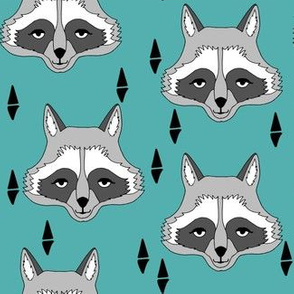 raccoon // turquoise raccoon sweet animal face for kids room outdoors woodland fabric by andrea lauren