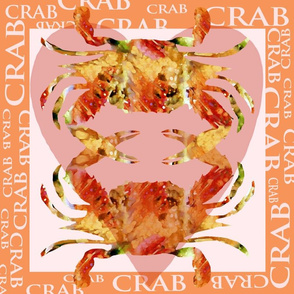 Crabs Watercolor Designed Square for Pillow