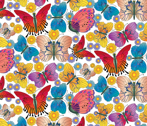Large Multicolored Butterflies fabric by designsld on Spoonflower - custom fabric