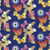 Yellow & Orange Butterflies with Blue Flowers