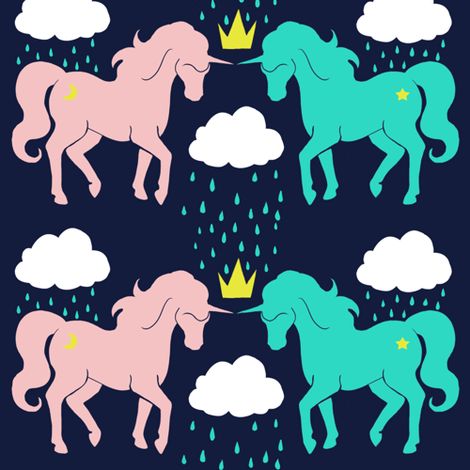 The Storm Ponies (Blue) fabric by littleknids on Spoonflower - custom fabric