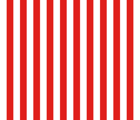 Stripes - Vertical - 1 inch (2.54cm) - Red (#E0201B) & White (#FFFFFF) fabric by elsielevelsup on Spoonflower - custom fabric