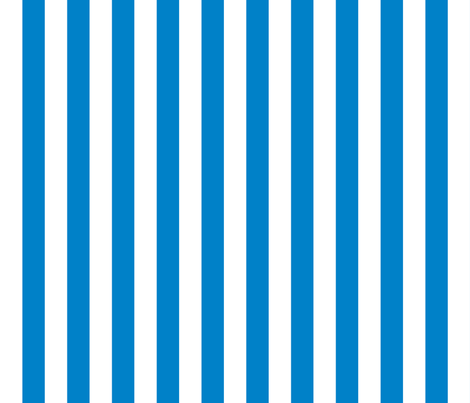 Stripes - Vertical - 1 inch (2.54cm) - Bright Blue (#0081C8) & White (#FFFFFF) fabric by elsielevelsup on Spoonflower - custom fabric