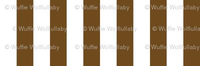 Stripes - Vertical - 1 inch (2.54cm) -  Dark Brown (#6E4A1C) & White (#FFFFFF)