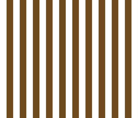 Stripes - Vertical - 1 inch (2.54cm) -  Dark Brown (#6E4A1C) & White (#FFFFFF) fabric by elsielevelsup on Spoonflower - custom fabric