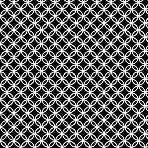 SMALL Fretwork circles, white on black by Su_G
