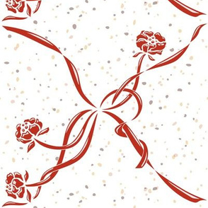 Vintage flowers with ribbons_rust red