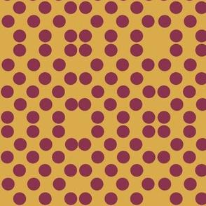 Polka Dots in Gold/Burg