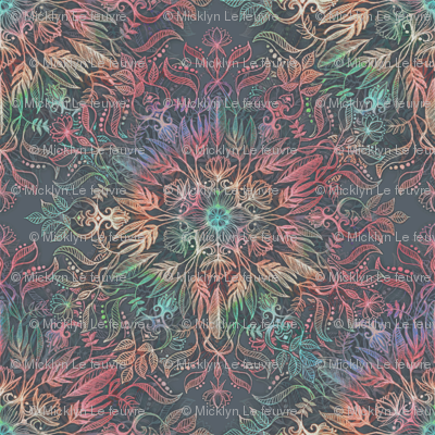 Winter Sunset Mandala in Charcoal, Mint and Melon