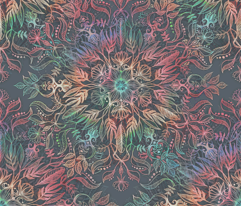 Winter Sunset Mandala in Charcoal, Mint and Melon fabric by micklyn on Spoonflower - custom fabric