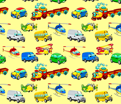 Funny vehicles with background fabric by ddraw_illustrations on Spoonflower - custom fabric