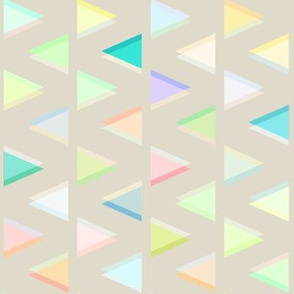 Pastel Neon Triangles on Beige
