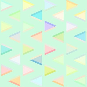 Pastel Neon Triangles on Mint Green
