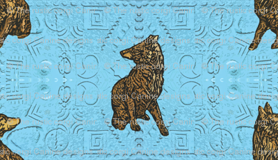 Coyote just in tile - blue glass brass