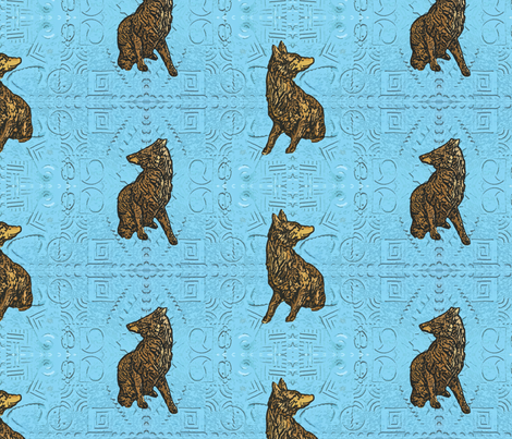 Coyote just in tile - blue glass brass fabric by rusticcorgi on Spoonflower - custom fabric