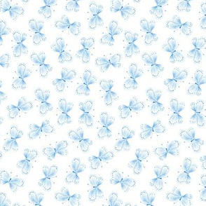 Blue Butterflies on White