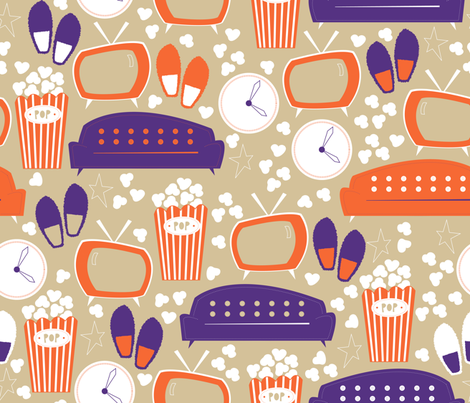 Retro-Snack-Time - Custom Colour fabric by papercanoefabricshop on Spoonflower - custom fabric