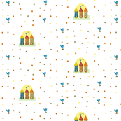 Tiny House Bluebird and dots primary fabric