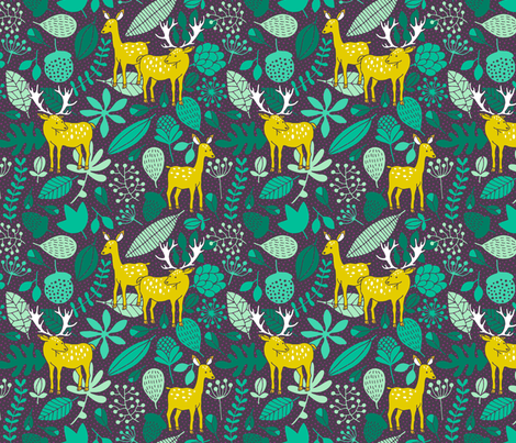 Deer in the forest fabric by heleen_vd_thillart on Spoonflower - custom fabric