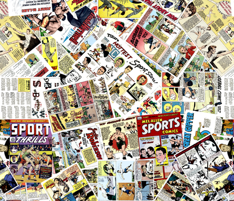 vintage comic book sports - LARGE PRINT fabric by janbalaya on Spoonflower - custom fabric
