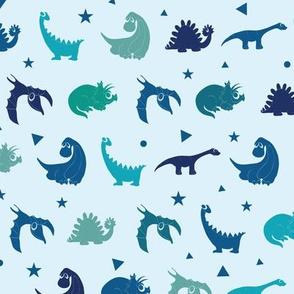 Blue dinosaurs silhouettes seamless pattern.  Stegosaurus, Tyrannosaurus, Diplodocus, Pterodactyl