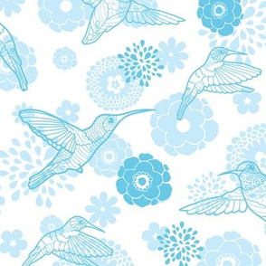 Blue hummingbirds flowers. Elegant Seamless Pattern