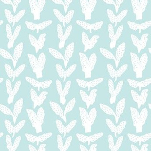 Seaweed Chevron, white on seafoam