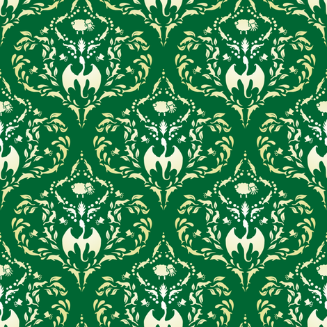 Wayward Baroque Green Small fabric by leopardessmoon on Spoonflower - custom fabric