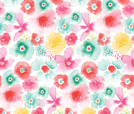 Bright and Lively Watercolor Flowers fabric by twoifbyseastudios on Spoonflower - custom fabric
