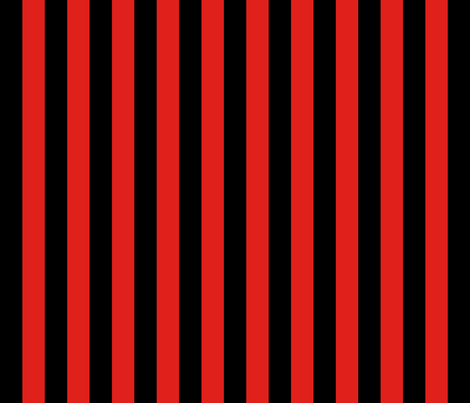Stripes - Vertical - 1 inch (2.54cm) - Black (#000000) & Red (#E0201B) fabric by elsielevelsup on Spoonflower - custom fabric