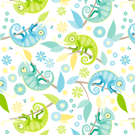 Ditsy chameleon fabric by heleenvanbuul on Spoonflower - custom fabric