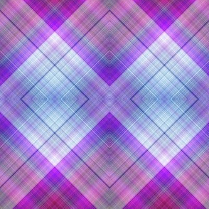 WATERCOLOR PUMPKINS DIAGONAL PLAID BLUE PURPLE HARMONY